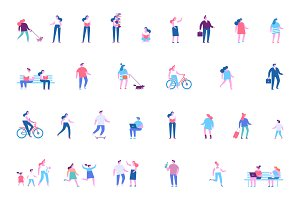 People characters flat vector set.