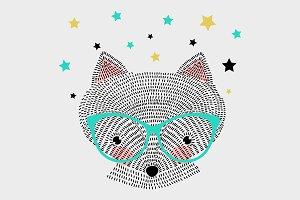 Cartoon cute fox. Baby shower.