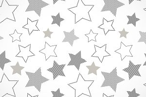 Striped black white stars pattern
