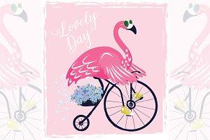 Cute flamingo vector.Baby shower.