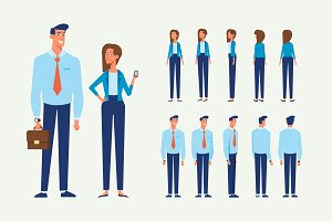 Business people animation set
