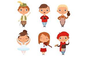 Cartoon kids boys and girls of