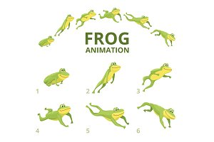 Frog jumping animation. Various