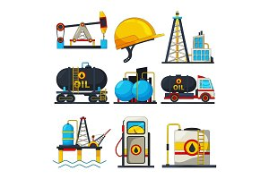 Petroleum and gas icons. Vector