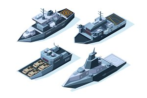 Isometric warships. Vector military