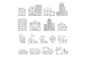 Buildings and urban objects. Vector