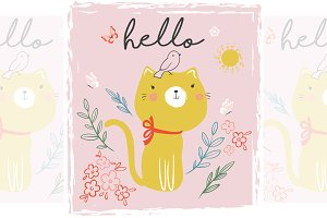 Cute cat vector.Baby shower postcard