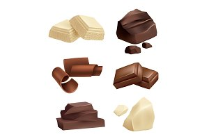Chocolate icon set. Realistic
