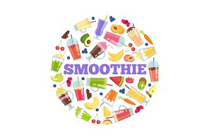 Smoothie cocktails in circle. Vector