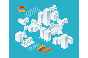 White isometric buildings. Urban 3d