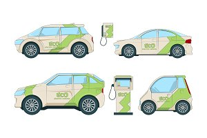 Electric cars. Various cartoon eco