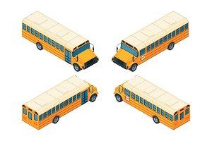 School bus isometric. Various views