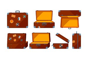 Travel case. Vector various views of