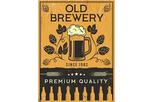 Retro poster of brewery. Vector