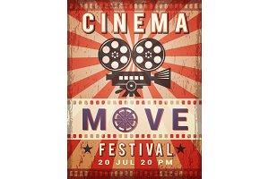 Cinema poster. Vintage design