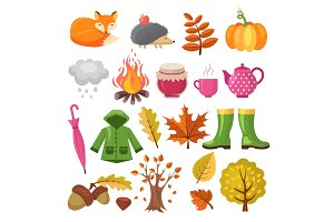 Autumn icon set. Various symbols of