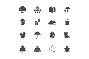 Autumn black icons. Various