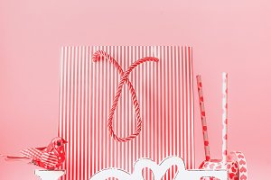 Shopping bag , word Love and decor