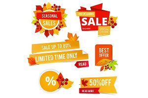 Badges of autumn sales. Various
