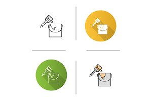 Paint bucket with brush icon