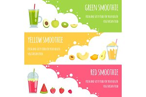 Summer smoothie. Horizontal banners