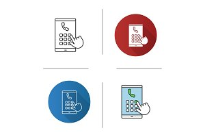 Hand dialing phone number icon