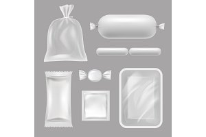 Empty food packages. Vector