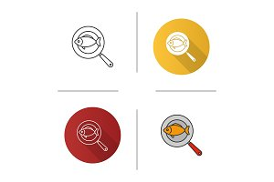 Fish on frying pan icon