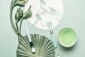 Facial sheet mask. Home skin care