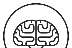Brain stroke icon, logo illustration
