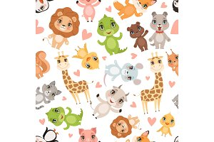 Baby animals pattern. Fabric printed
