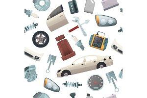 Car tools pattern. Mechanic details