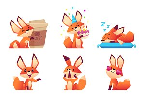 Cute fox character collection. Wild