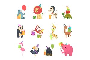 Wild animals with gifts. Festive