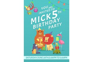 Birthday card invitation. Greeting