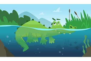 Crocodile in water. Alligator