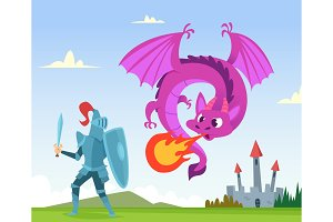 Dragon fighting. Wild fairytale