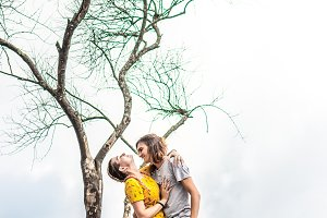 A view of a loving couple posing on