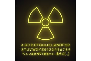 Atomic power sign neon light icon