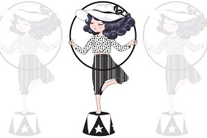 Circus girl vector.Girl face graphic