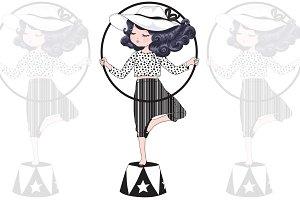 Circus girl vector.Girl face graphic