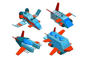 Spaceships isometric. Space