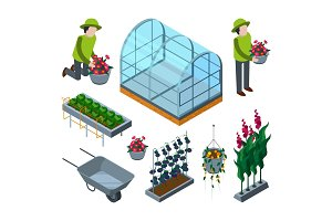 Farm greenhouse isometric
