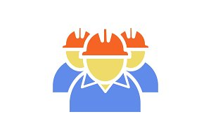 Workers glyph color icon