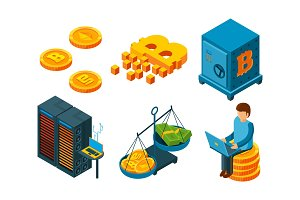 Crypto currency 3d icon. Business