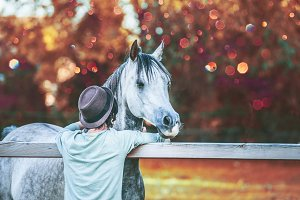 Guy hugs his horse near fence