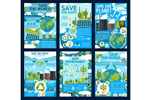 Save Earth and green eco planet