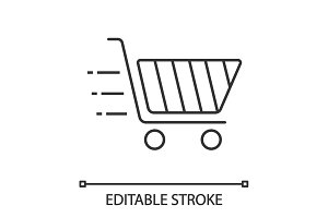 Flying shopping cart linear icon