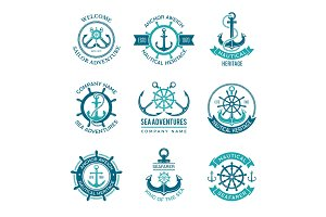 Marine logo. Nautical vector emblem
