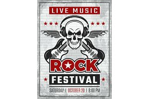 Music festival retro poster. Rock